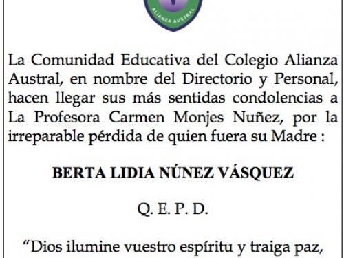 Estimada Profesora Carmen Monjes Nuñez